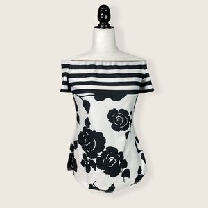 Frank Lyman Black & White Off-the-Shoulder Blouse
